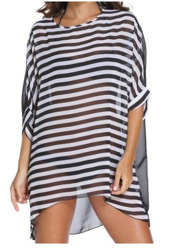 74% Off! Angerella Women Beach Swimsuit Cover-Up Stripes Chiffon Beachwear