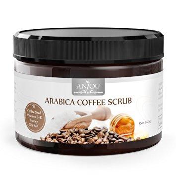 80% Off! Anjou 15oz Body Scrub Arabica Coffee Scrub with Honey, Sea Salt