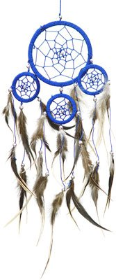 Blue DreamCatcher with Feathers ~ Approx 3.5 Diameter 1 Foot Long