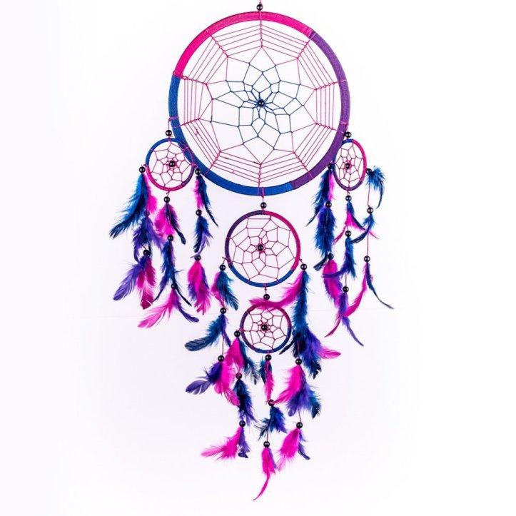 "Handmade Traditional Royal Blue, Pink & Purple 8.5"" Diameter 24"" Long"