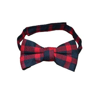 Lumberjack Red and Black Plaid Classy Boy Bow Tie High Quality Velcro Closure