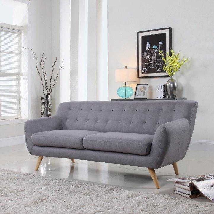 Mid-Century Modern Linen Fabric Sofa