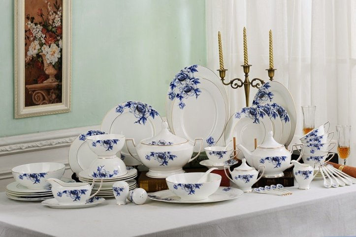 Porlien Elegance Collection Blue Flower Porcelain Dinnerware Set-53 Pieces