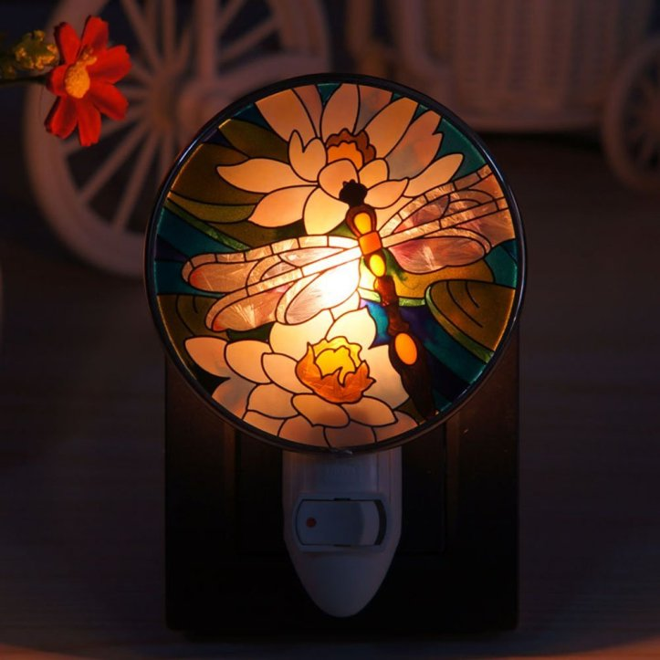 Sudapapa Hand Painted Dragonfly and Water Lily Nightlight Art Glass Night Light