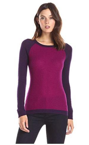 Waffle-Knit Colorblock Sweater